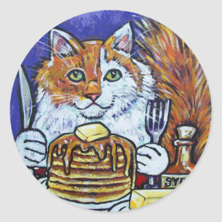 PANCAKES THE CAT ROUND STICKER