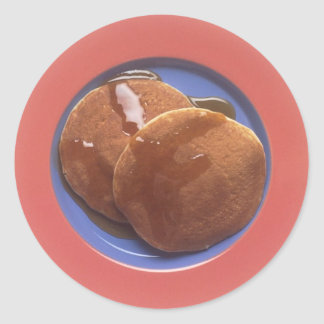 Pancakes with Maple Syrup Round Sticker