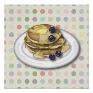 Pancakes With Syrup And Blueberries Poster