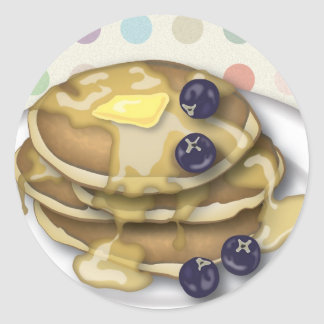 Pancakes With Syrup And Blueberries Round Sticker