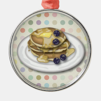 Pancakes With Syrup And Blueberries Silver-Colored Round Decoration