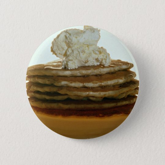 Pancakes with whipped butter 6 cm round badge