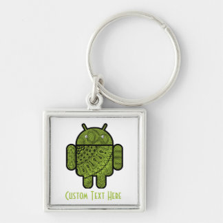 Pancho Doodle Character for the Android™ robot Silver-Colored Square Key Ring