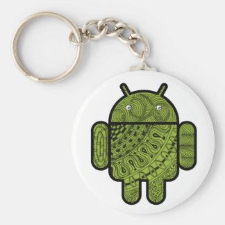 Pancho Doodle Character for the Android™ robot Basic Round Button Key Ring