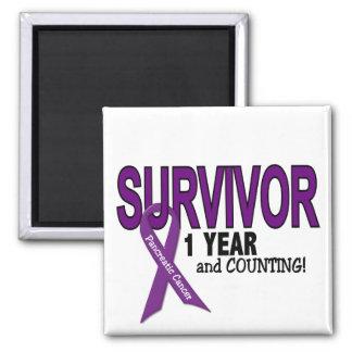 Pancreatic Cancer 1 YEAR SURVIVOR Square Magnet