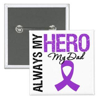 Pancreatic Cancer Always My Hero My Dad 15 Cm Square Badge