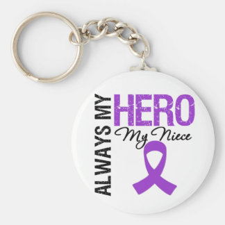 Pancreatic Cancer Always My Hero My Niece Basic Round Button Key Ring