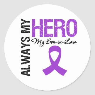 Pancreatic Cancer Always My Hero My Son-in-Law Round Stickers