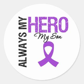 Pancreatic Cancer Always My Hero My Son Round Stickers