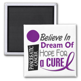 Pancreatic Cancer Awareness BELIEVE DREAM HOPE Square Magnet
