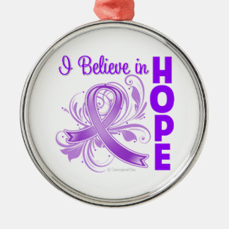 Pancreatic Cancer Awareness I Believe in Hope Round Metal Christmas Ornament