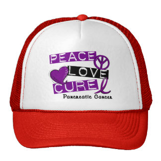 Pancreatic Cancer Awareness PEACE LOVE CURE 1 Hats