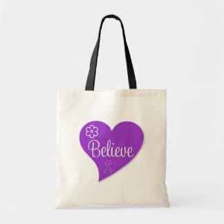 Pancreatic Cancer Believe Heart Tote Bag