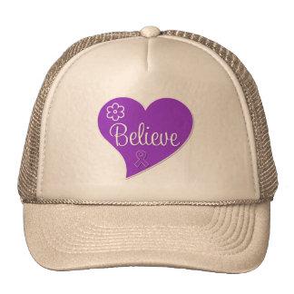 Pancreatic Cancer Believe Heart Mesh Hats