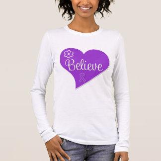 Pancreatic Cancer Believe Heart Long Sleeve T-Shirt