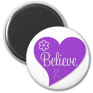 Pancreatic Cancer Believe Heart Refrigerator Magnet
