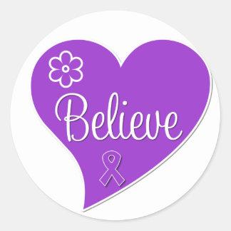 Pancreatic Cancer Believe Heart Round Sticker