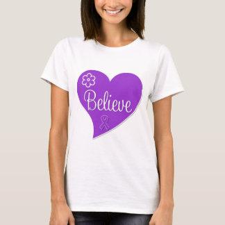 Pancreatic Cancer Believe Heart T-Shirt