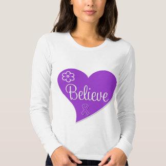 Pancreatic Cancer Believe Heart T-shirts