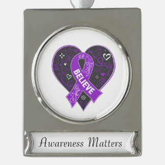 Pancreatic Cancer Believe Ribbon Heart Silver Plated Banner Ornament