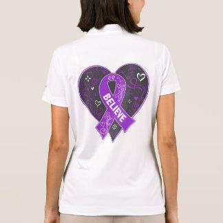 Pancreatic Cancer Believe Ribbon Heart Polo Shirt