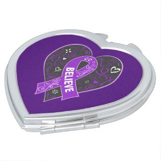 Pancreatic Cancer Believe Ribbon Heart Vanity Mirror