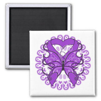 Pancreatic Cancer Butterfly Circle of Ribbons Square Magnet