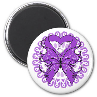 Pancreatic Cancer Butterfly Circle of Ribbons 6 Cm Round Magnet