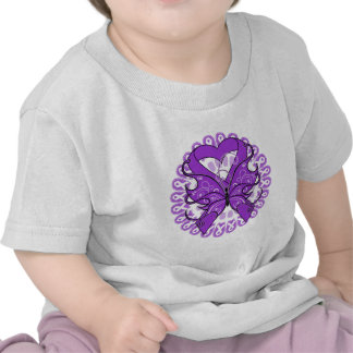 Pancreatic Cancer Butterfly Circle of Ribbons Tee Shirt