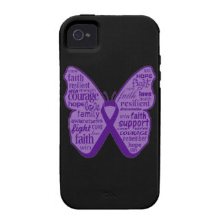 Pancreatic Cancer Butterfly Collage of Words Case-Mate iPhone 4 Cover