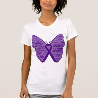 Pancreatic Cancer Butterfly Collage of Words T Shirt