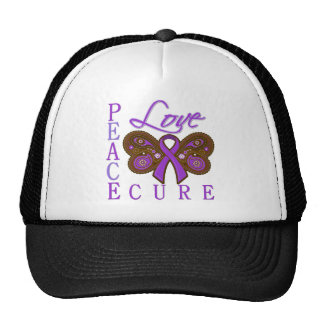Pancreatic Cancer Butterfly Peace Love Cure Mesh Hat