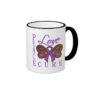 Pancreatic Cancer Butterfly Peace Love Cure Mug