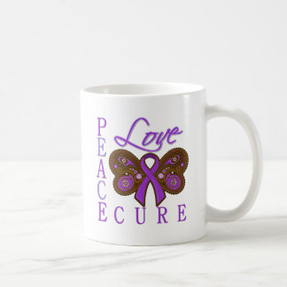 Pancreatic Cancer Butterfly Peace Love Cure Mugs