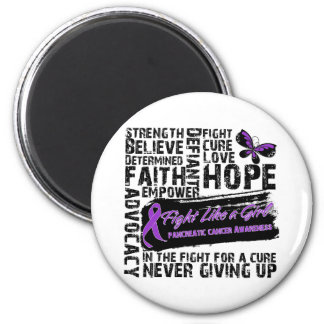 Pancreatic Cancer Collage - Fight Like a Girl 6 Cm Round Magnet