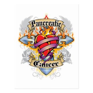 Pancreatic Cancer Cross & Heart Postcard