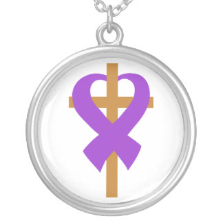 Pancreatic Cancer Cross Heart Ribbon Round Pendant Necklace