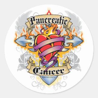 Pancreatic Cancer Cross & Heart Round Sticker