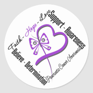 Pancreatic Cancer Faith Hope Love Butterfly Round Sticker