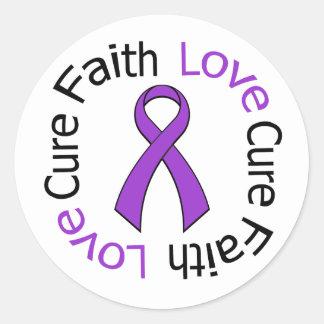 Pancreatic Cancer Faith Love Cure Round Sticker