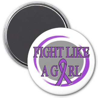 Pancreatic Cancer Fight Like A Girl Circular 7.5 Cm Round Magnet