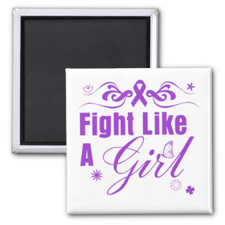 Pancreatic Cancer Fight Like A Girl Ornate Magnet