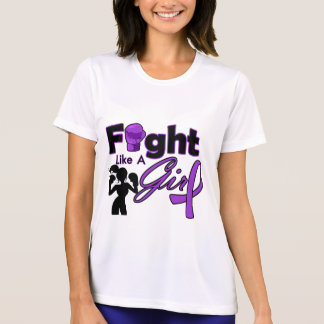 Pancreatic Cancer Fight Like A Girl Silhouette T Shirts