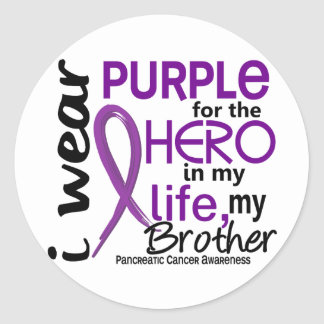 Pancreatic Cancer For My Hero My Brother 2 Round Sticker