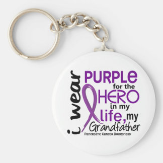 Pancreatic Cancer For My Hero My Grandfather 2 Key Ring