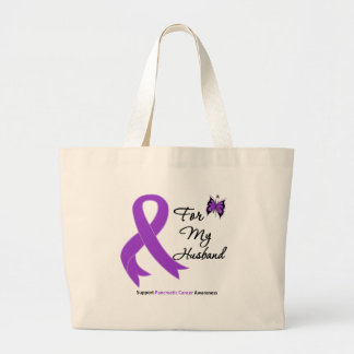 Pancreatic Cancer For My Husband Large Tote Bag