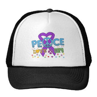 Pancreatic Cancer Groovy Peace Love Cure Mesh Hats