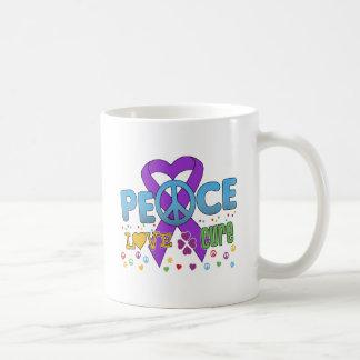 Pancreatic Cancer Groovy Peace Love Cure Mugs