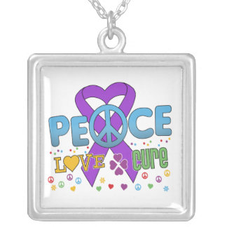 Pancreatic Cancer Groovy Peace Love Cure Square Pendant Necklace