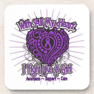 Pancreatic Cancer Heart I Fight Like A Girl Drink Coaster